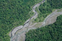 River flooding due to deforestation, aerial photo between Madang and Goroka, Papua New Guinea, Melanesia,