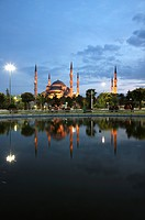 Illumination of Blue Mosque or Sultan Ahmet Mosque, Istanbul, Turkey