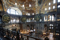 Main Hall with 56 meter high dome, interior, Hagia Sophia mosque, former church, Sultanahmet, Istanbul, Turkey
