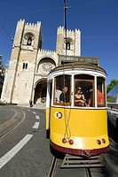 Lisbon  Portugal  The No  28 tram passes the S&#233; cathedral