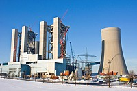 new building coal_fired power station Neurath in winter, Germany, North Rhine_Westphalia, Neurath