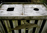 Trash bin for Recycling by Atlantic Ocean in New Jersey USA