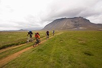 Iceland, Men mountain biking in hilly landscape