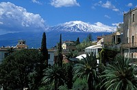 Taormina with mount Etna, Sicily, Italy