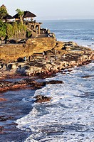 Indonesia, Bali, Tanah Lot Temple on offshore rock with tourists