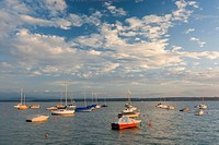 Germany, Bodensee, Hagnau, boats anchoring