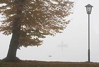 Austria, Salzkammergut, Lake Mondsee, Morning fog