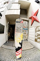 Germany, Berlin, Checkpoint Charlie fisheye view