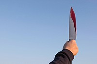 Germany, Person holding knife with blood on it