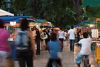 Argentina, Mendoza Province, Mendoza, Plaza Independencia, evening artisan market