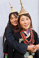 Layaps, young women from Laya village, Bhutan