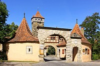 Germany, Bavaria, Rothenburg ob der Tauber, Roedertor, Roederturm