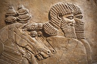 England, London, British Museum, Assyrian Relief from Nimrud showing Horses and Horsemen of the Royal Chariot 725BC