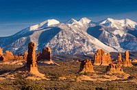 USA, Utah, La Sal Mountains from Arches National Park