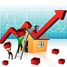 Illustrative representation showing boom in real estate market
