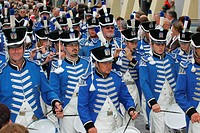 Marching band at an international festival for traditional costume in Muehldorf am Inn, Upper Bavaria, Bavaria, Germany, Europe