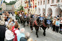 Brewery carriages at an international festival for traditional costume in Muehldorf am Inn, Upper Bavaria, Bavaria, Germany, Europe