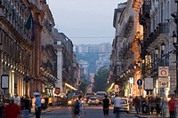Via Etnea at dusk, main thoroughfare in Catania, Sicily, Italy