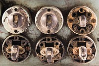Close_up of old lightswitches
