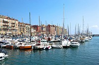 Fishing boats docked at a harbor, Nice, French Riviera, France, Europe
