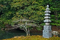 An_Min_Taku Pond and the Hakuja_no_Tsuka stone pagoda at the at the Rokuon_ji Temple Garden in Kyoto, Japan, Kyoto