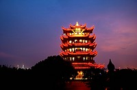 China, Hubei Province, Wuhan, Wuchang, Yellow Crane Tower, night scene