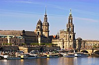 famous historic old town of Dresden with the Elbe River in the foreground, Germany, Saxony, Dresden
