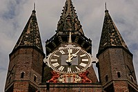 Clock tower of the Oude Kerk (Old Church) in Delft, Netherlands