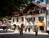 Shopping street in Mittenwald in the Bavarian Alps, Germany, Europe