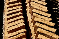Hand formed clay bricks dry in the sun