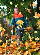 gardener working with leaf blower, Germany