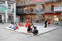 Pupils training in the schoolyard, Wuzhi Gong Fu School, Henan Wuzhi China