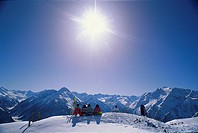Panorama of the Zillertaler Alps, A group of people relaxing in the sun, Zillertal, Tyrol, Austria
