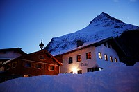 Appartment House at dawn, Gorfenspitze in the background, Appartment Futschoel, Galtuer, Tyrol, Austria