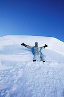 Snowboarder on Alpkogel, Snowboarding, Wirl near Galtuer, Tyrol, Austria