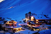 View of Kuehtai in the evening, Winter ski resort Kuehtai, Tyrol, Austria