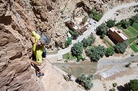 Rock climbing, Todra gorge, Morocco