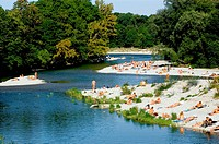 Nude Gay Beach Area at Flaucher at the River Isar, leisure, Munich, Bavaria, Germany, Isar (thumbnail)