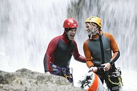 A man canyoning, talking to guide, Hachleschlucht, Haiming, Tyrol, Austria
