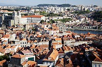 The Se Cathedral and a view of the city with the Douro River, Porto, Douro Litoral, Portugal