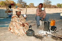 Breakfeast at the campfire, Cattlepost Bothatogo, Botswana, Africa