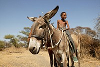 Boy riding on donkey, Cattlepost Bothatoga, Botswana, Africa