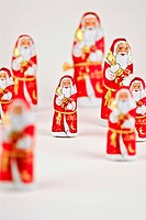 Large and small chocolate Santa Clauses