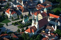 Aerial view of Grace Chapel Gnadenkapelle and Chapel Square in the pilgrimage town of Altoetting, Upper Bavaria, Bavaria, Germany, Europe