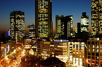 Banking district in the evening, Frankfurt am Main, Hesse, Germany