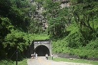 People in front of the entrance of the Malinta Tunnel, Corregidor, Manila Bay, Philippines, Asia