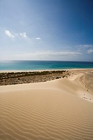 Dune on the waterfront in the sunlight, Playa de Satovento de Jandia, Parque Natural de Jandia, Jandia peninsula, Fuerteventura, Canary Islands, Spain...