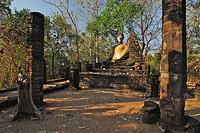 Buddha at Khao Phnom Pholoeng, Si Satchanalai Chalieng Historical Park, Province Sukothai, Thailand, Asia