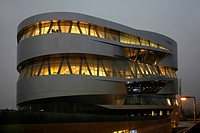 Evening mood, Mercedes Benz Museum in Stuttgart, Baden-Wuerttembert, Germany