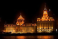 The Bund, Old Part of Shanghai, No 12 HSBC Bank Building Old Customs House At Night  Buildings were built in the 1920s and 1930s  HSBC Bank Building w...
